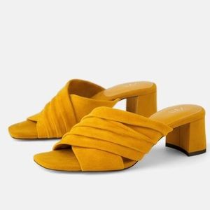 NWT Zara leather heeled mules yellow mustard
